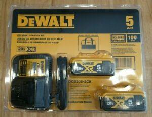 DeWalt DCB205-2CK 20V MAX Li-Ion 5.0Ah Battery Pack w/ DCB115 Charger & Bag NEW!