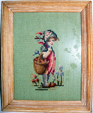 Needlepoint finished framed Character Hummel girl 10 x 12