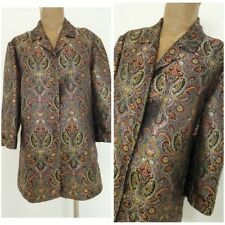 Chicos Design Blouse Size 2 Medium Metallic Festive Tunic Top Ethnic Shirt