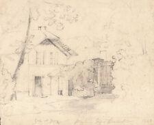 CASA VILLA DI CAMPAGNA - Disegno Originale a Matita 1840 Country Drawing