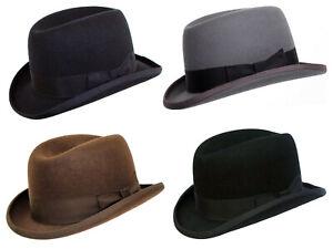Mens Churchill Homburg Hat Hand Made 100% Wool Hard Top Felt Classic Trilby