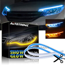 45CM ICE BLUE + Amber Switchback LED Strip Light DRL Flow Sequential Turn Signal