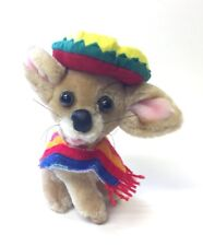 Chihuahua Dog Plush Goffa Wearing Sombrero  Poncho Mexican 9 Inches
