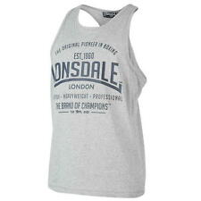 MENS LONSDALE GREY MARL PRINTED BOXING VEST -  RRP £16.99 - SALE 10% OFF