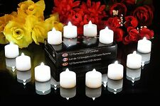 12 blanc scintillement batterie led tea lights-sans flamme bougies par pk vert