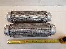 Flexible Exhaust Pipe Braided Stainless Steel 5.5cm x 25cm - Qty 2 - New