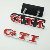 2 Pcs Red GTI Grill & Boot Rear Car Badge Emblems For Polo GOLF MK Grille