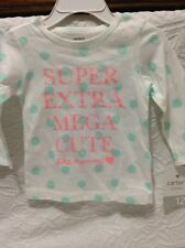NWT Carters baby girl's long sleeve T-shirt 12 Month /100% cotton