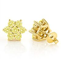 2Ct Round Cut Yellow Sapphire Floral Cluster Stud Earring 14K Yellow Gold Finish