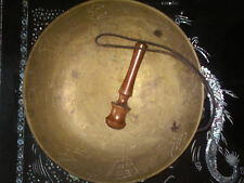 """Old Brass 12"""" Ceremonial Gong Bowl Sings Dragon/Flowers/Symbols with Wood Gong"""