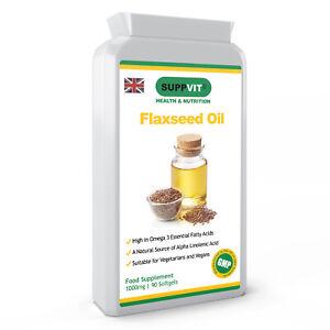 High Strength 1000mg Cold Pressed Flaxseed Oil Omega-3 ALA 90 Vegan Softgels