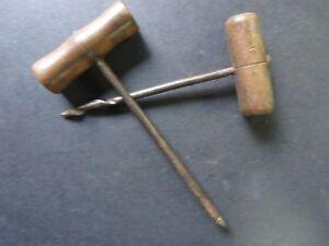 Vtg. Corkscrew Wine bottle opener Barware Iron Wood t handle 2 pcs Lot