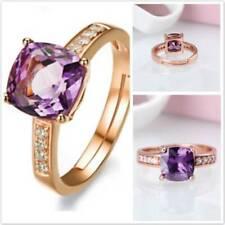 Fashion Womens Purple Crystal Wedding Engagement Ring Adjustable Open Ring