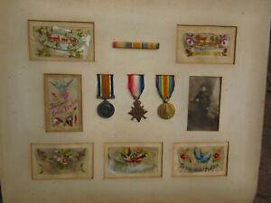 WW 1 Trio Medals Victory BWM Mons Star  Photo Silks R/Bar 20438 DVR T Skinner RA