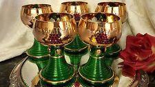 5 Vntg 9oz Glass Wine Goblets GOLD PLATE, RED CRYSTALS/CUT LEAVES/SCROLLS GERMAN