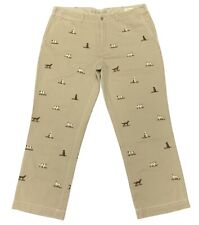 Ralph Lauren Men's Straight Fit Hunting Dog Embroidery All Over Chino in Khaki