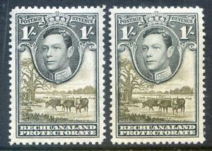 Bechuanaland 1938 Defs. 1sh black & grey-black shades n.h. mint (2019/07/29#01)