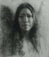 JAPANESE WOMAN 9x12 Female Portrait Original Charcoal Drawing CONTEMPORARY ART