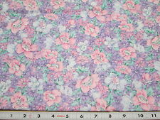Packed Bouquet Flowers Purple Pink Blue Cotton Fabric - Sold by the half-yard