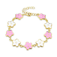 Yellow Gold Plated Bracelet adjustable Size Flower Charm Pink Lobster Clasp L165
