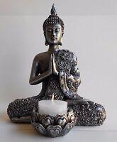 Esoterik Buddha-Figur mit Teelichthalter, Meditation Deko Figur  Höhe 19 cm