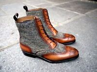 Men Latest Unique Italian Wing Tip Fabric & Leather Boots, botas de cuero