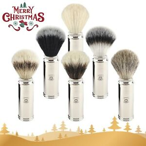 Men's Travel Shaving Brush With Pure all Badger Hair in Brass Handle, Gift