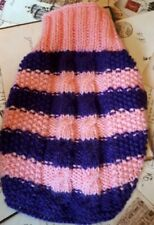XS dog sweater, jumper.Hand knit Tea cup Chihuahua, Yorkie. Purple & pink cable.