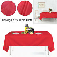 Rectangle Polyester Table Cloth Red Cover Dining Home Party Decor Tableware