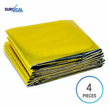 4 Emergency Rescue Space Thermal Mylar Blankets 82 x 62 Shipping Gold