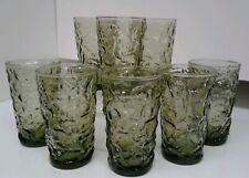 Set of 8 Anchor Hocking Avocado Green Lido Tumblers glass 5 oz juice T4005-K