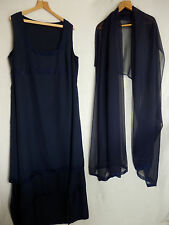 Formal gown/performance dress size 18 - 20 Long + chiffon wrap navy blue