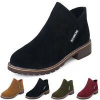 Womens Short Booties Low Ankle Round Toe Zipper Leather Boots Casual Shoes Sizes