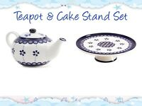 Teapot & Cake Stand Set in Blue and White Porcelain
