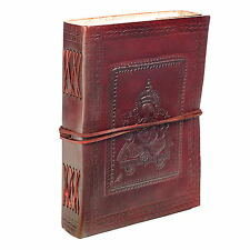 Fair Trade Handmade Eco Small Ganesh Design Embossed Leather Journal Notebook