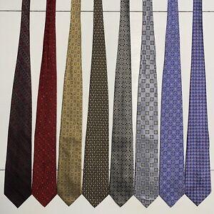 8 Men's Ties ALL LONG Small Pattern Grenadine Jos A Bank ProntoUomo Silk Tie Lot