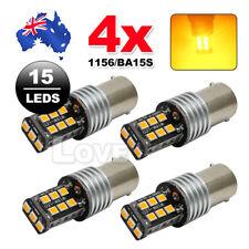 4X NEW BA15S 1156 P21W 2835 15 LED TURN SIGNAL INDICATOR CANBUS BULB GLOBE AMBER