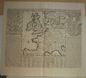 WESTERN EUROPE ENGLAND 1719 CHATELAIN ANTIQUE ORIGINAL COPPER ENGRAVED MAP