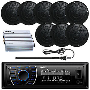 "Pyle Marine Bluetooth USB SD Radio, 5"" Marine Speakers, Antenna, 400W Amplifier"
