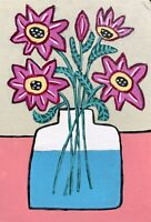 Original Painting Of Pink Daisies In Vase Of Water,Folk/naive Art, On Book Cover