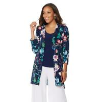Slinky Brand 3/4 Sleeves Open-Front Pleated Cardigan Blue Multi Small Size HSN