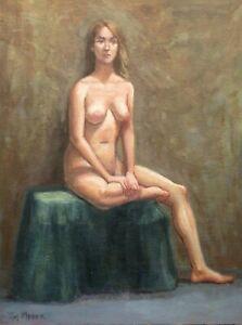 Artist's Original Oil Painting-Seated Female Nude Model