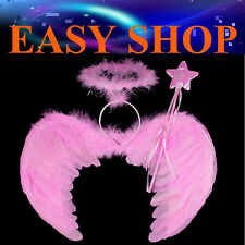 53X39cm Pink Feather Wings Halo Magic Wand Fairy Angel Dress Up Party Halloween