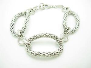 Nomination Italy Platinum Sterling Silver Mesh Design Oval Charm Bracelet Gift