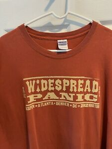 Men's 2012 Widespread Panic Wood Tour Aspen Denver Atlanta DC T Shirt 3XL XXXL