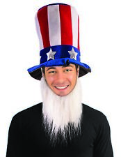 Uncle Sam Patriotic 4th of July Hat With White Beard Adult Costume Accessory