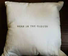 NEW KATE SPADE INKY FLORAL HEAD IN THE CLOUDS WHITE EMBROIDERED THROW PILLOW