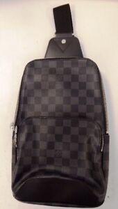 Louis Vuitton Mens Dark Grey Graphite Damier (check) 'Avenue Sling' Bag