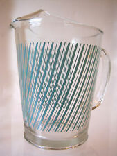 VTG~MID-CENTURY~1960s~GLASS WATER PITCHER~TURQUOISE STRIPE~w/ ICE LIP