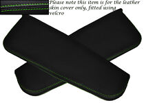 GREEN STITCHING FITS DAIHATSU COPEN 2003+ 2X SUN VISORS LEATHER COVERS ONLY
